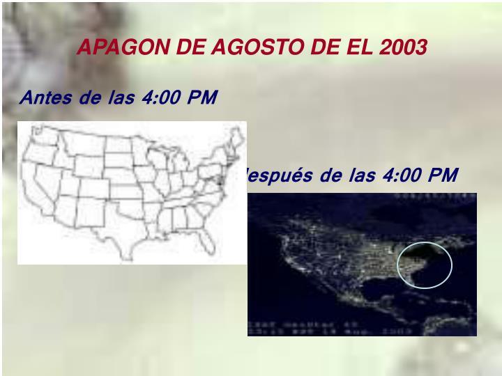 APAGON DE AGOSTO DE EL 2003