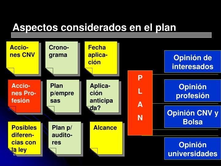 Aspectos considerados en el plan