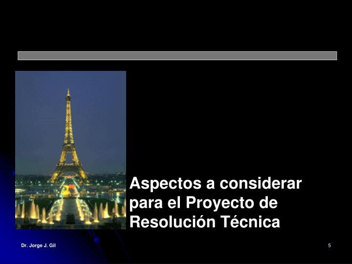 Aspectos a considerar para el Proyecto de Resolución Técnica