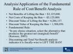analysis application of the fundamental rule of cost benefit analysis