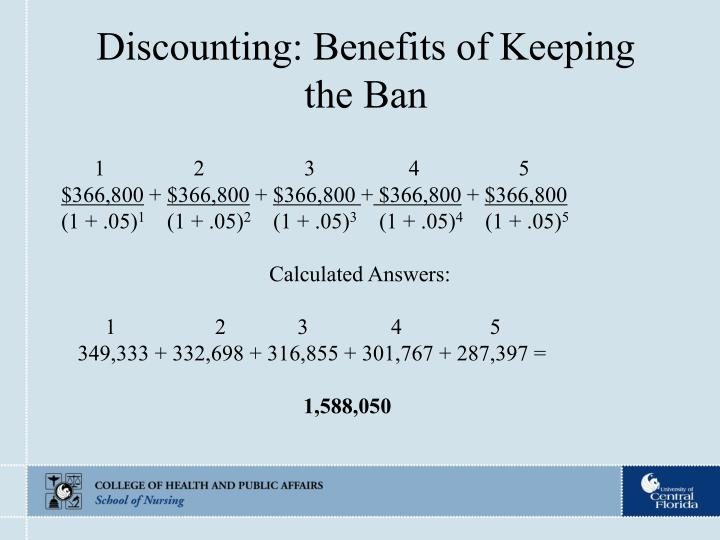 Discounting: Benefits of Keeping the Ban