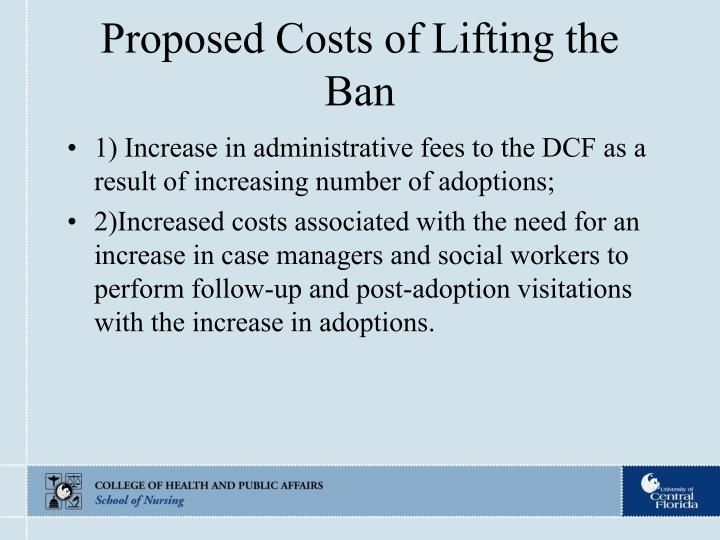 Proposed Costs of Lifting the Ban