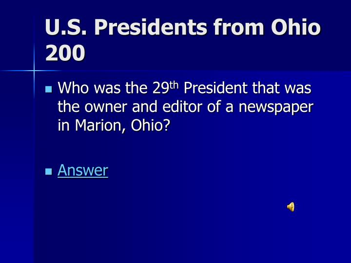U.S. Presidents from Ohio 200