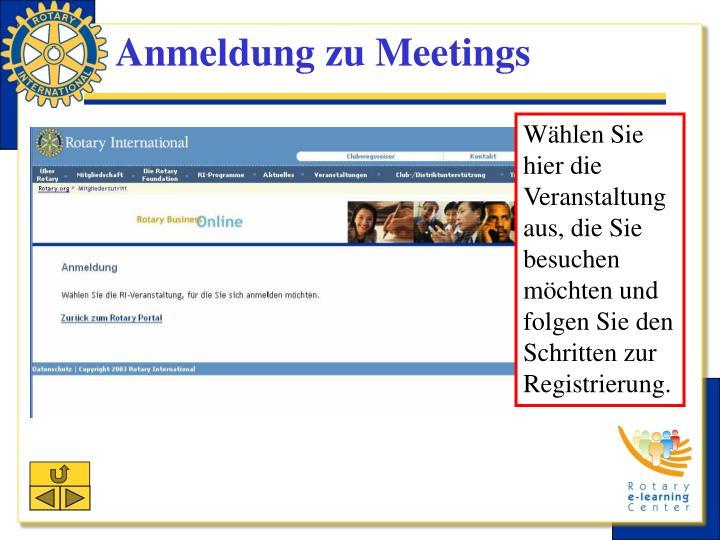 Anmeldung zu Meetings