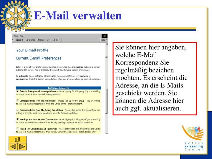 Sie können hier angeben, welche E-Mail Korrespondenz Sie regelmäßig beziehen möchten