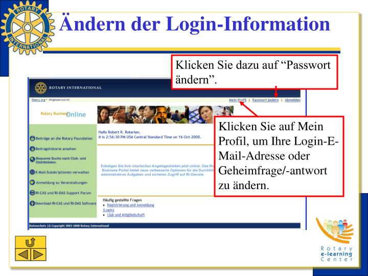 Ändern der Login-Information