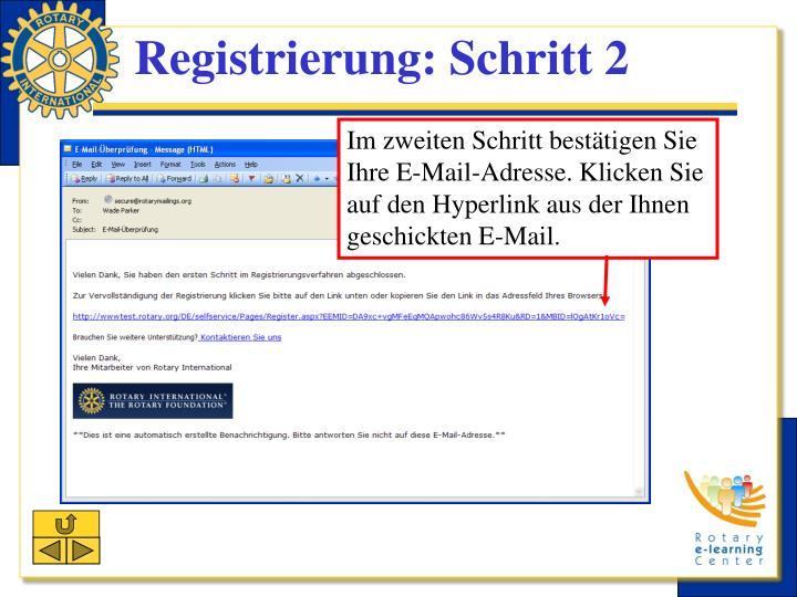 Registrierung: Schritt 2