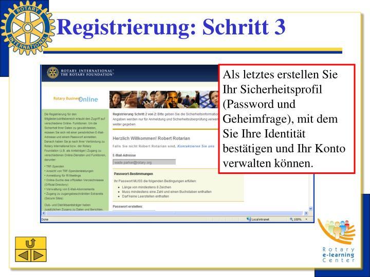 Registrierung: Schritt 3