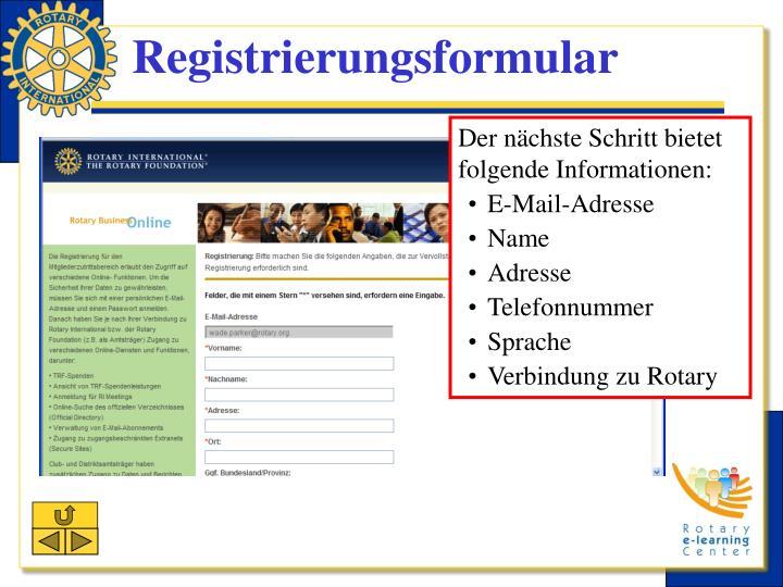 Registrierungsformular