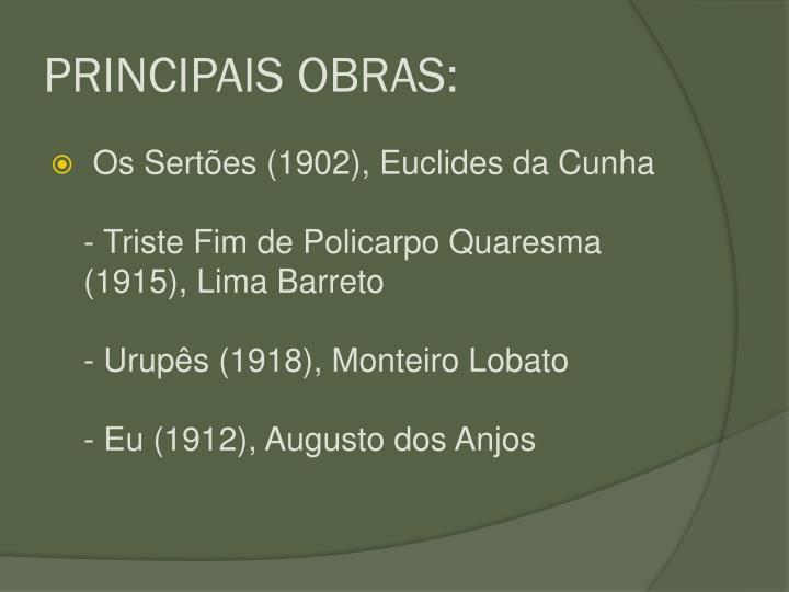 PRINCIPAIS OBRAS: