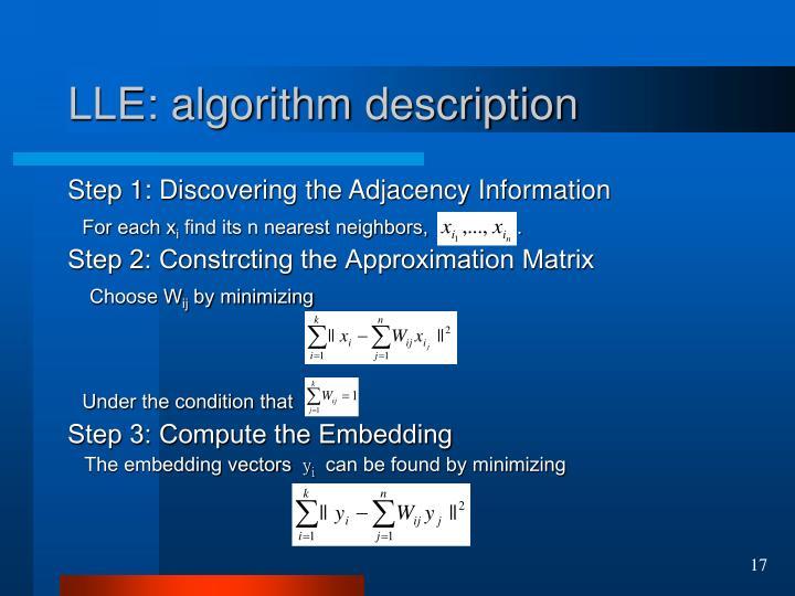 LLE: algorithm description