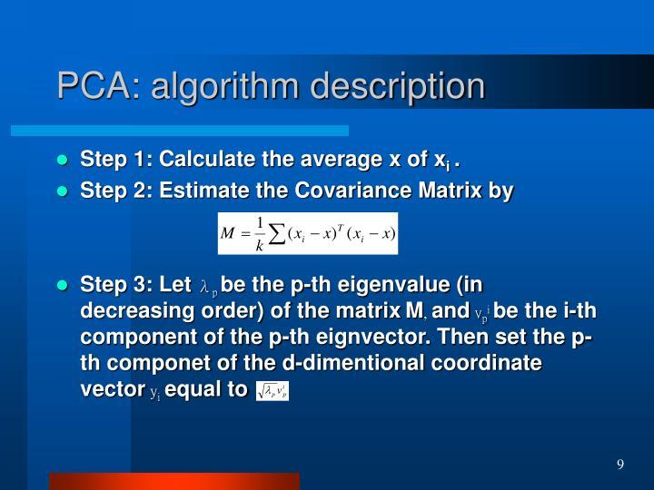 PCA: algorithm description