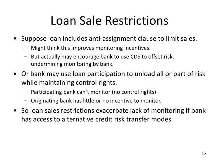 Loan Sale Restrictions