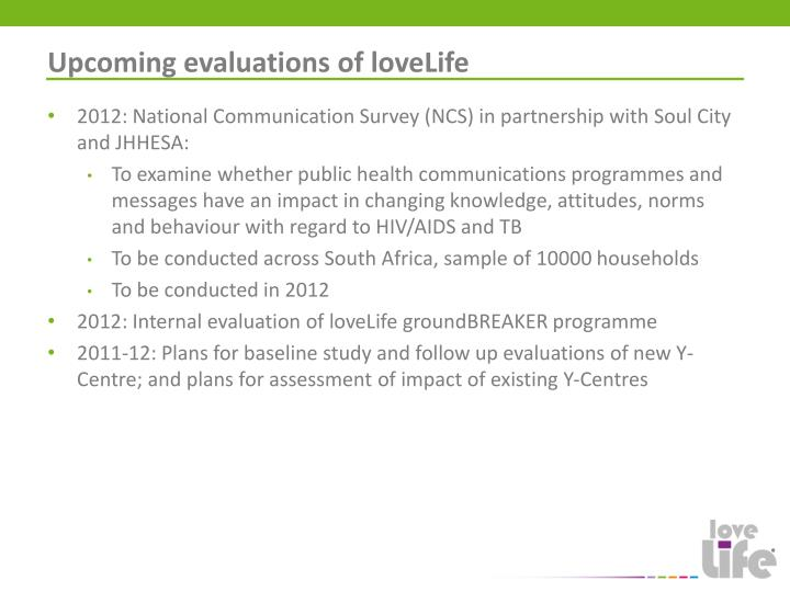 Upcoming evaluations of loveLife