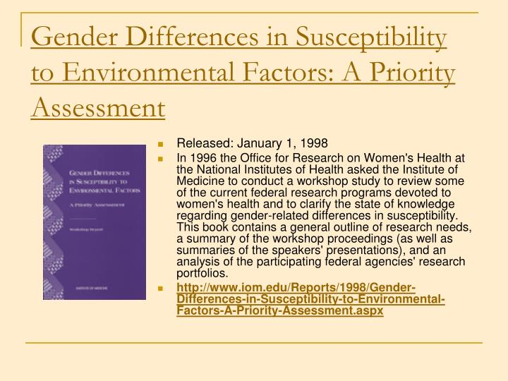 Gender Differences in Susceptibility to Environmental Factors: A Priority Assessment
