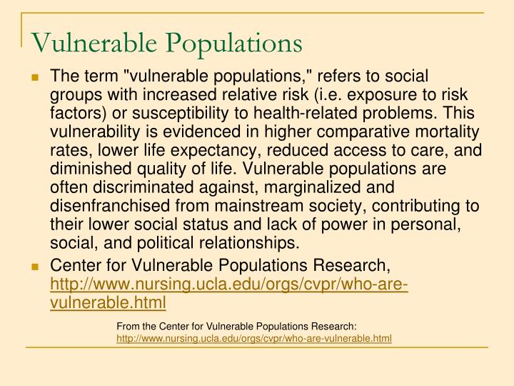 Vulnerable Populations