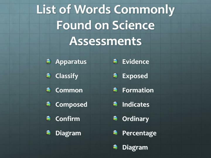 List of words commonly found on science assessments
