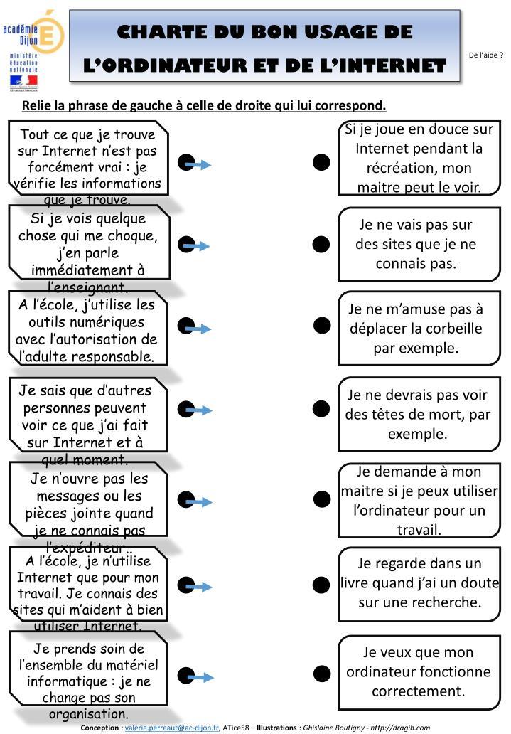 CHARTE DU BON USAGE DE L'ORDINATEUR ET DE L'INTERNET