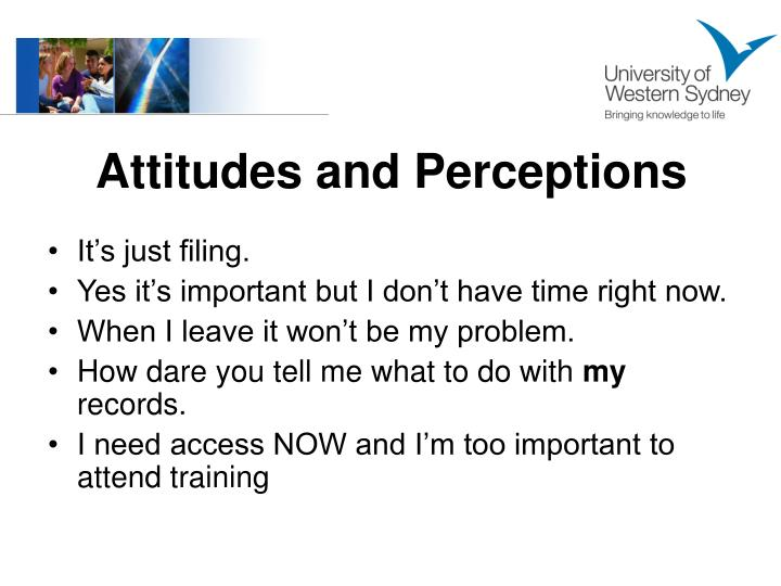 Attitudes and Perceptions