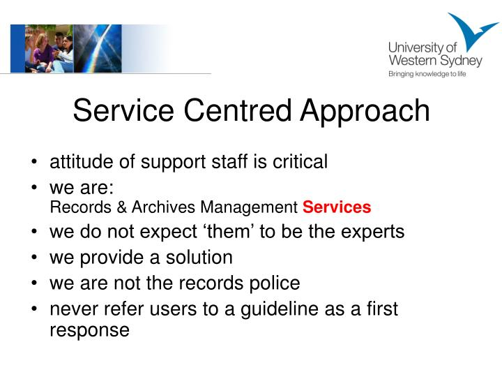 Service Centred Approach