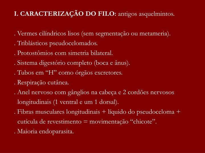 I. CARACTERIZAÇÃO DO FILO: