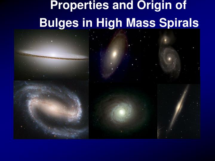 Properties and Origin of Bulges in High Mass Spirals