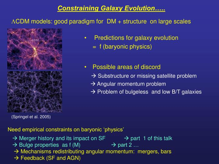 Constraining Galaxy Evolution…..