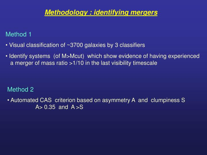 Methodology : identifying mergers