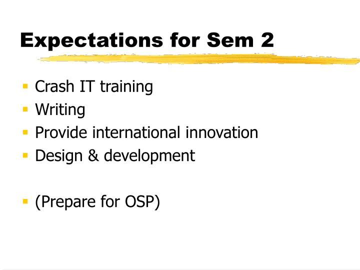 Expectations for Sem 2