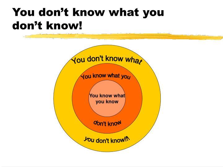 You don't know what you don't know!