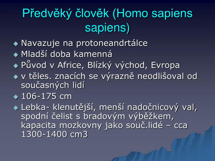 Předvěký člověk (Homo sapiens sapiens)