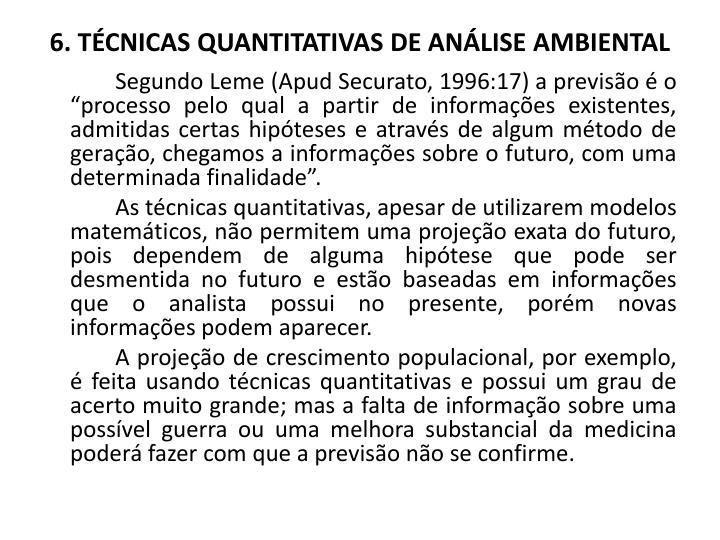 6. TÉCNICAS QUANTITATIVAS DE ANÁLISE AMBIENTAL