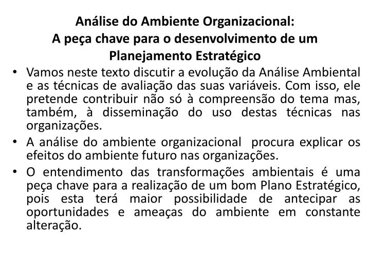 Análise do Ambiente Organizacional: