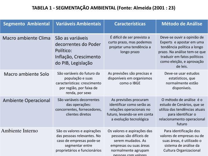 TABELA 1 - SEGMENTAÇÃO AMBIENTAL (Fonte: Almeida (2001 : 23)