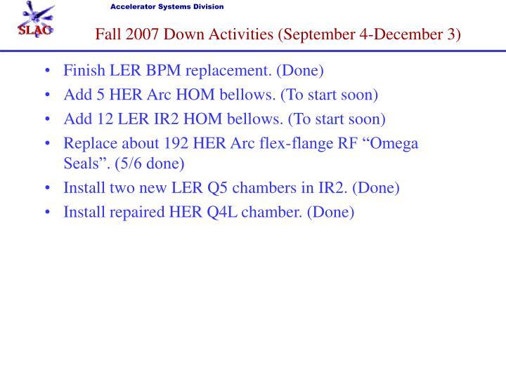 Fall 2007 Down Activities (September 4-December 3)