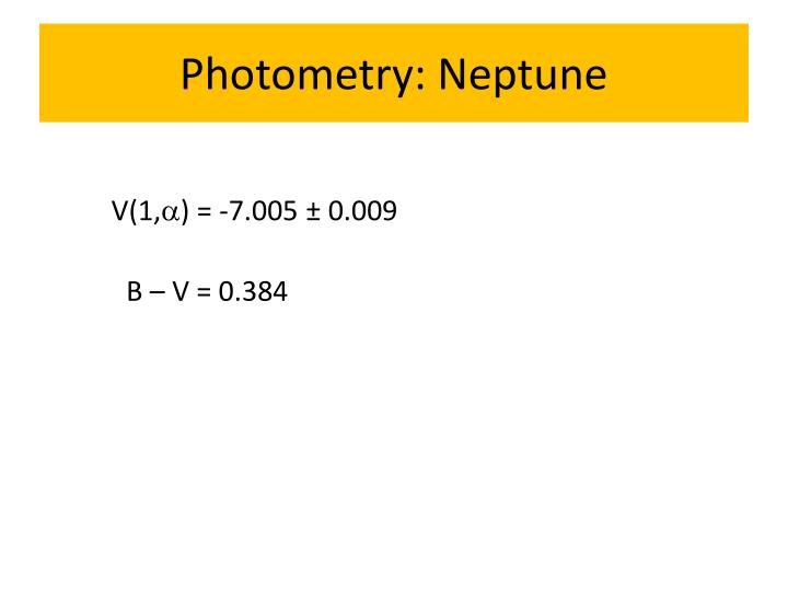 Photometry: Neptune