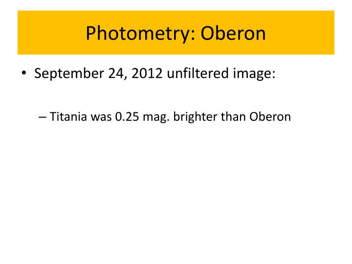 Photometry: Oberon