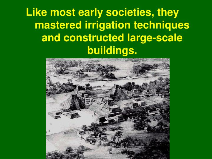 Like most early societies, they mastered irrigation techniques and constructed large-scale buildings.
