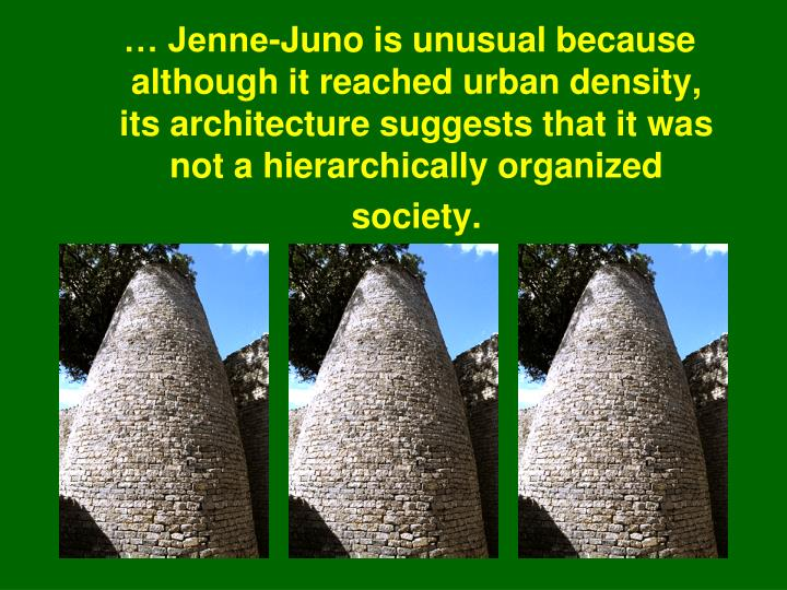 … Jenne-Juno is unusual because although it reached urban density, its architecture suggests that it was not a hierarchically organized society.