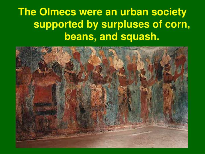 The Olmecs were an urban society supported by surpluses of corn, beans, and squash.