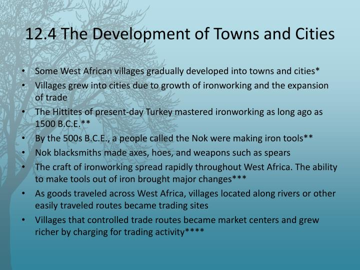 12.4 The Development of Towns and Cities