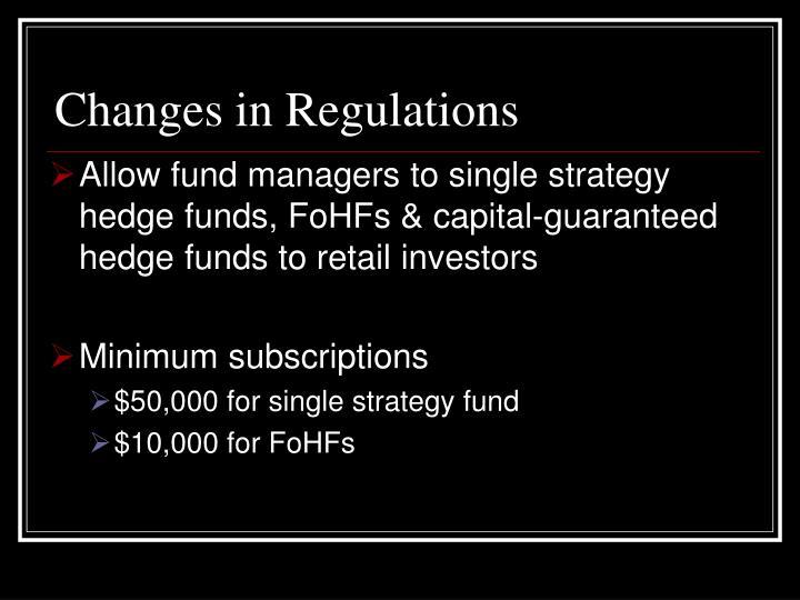Changes in Regulations