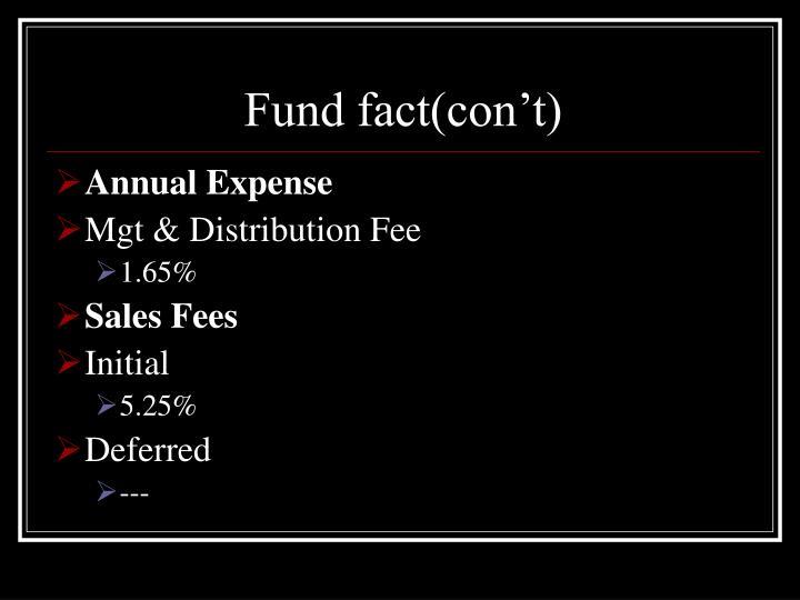Fund fact(con't)