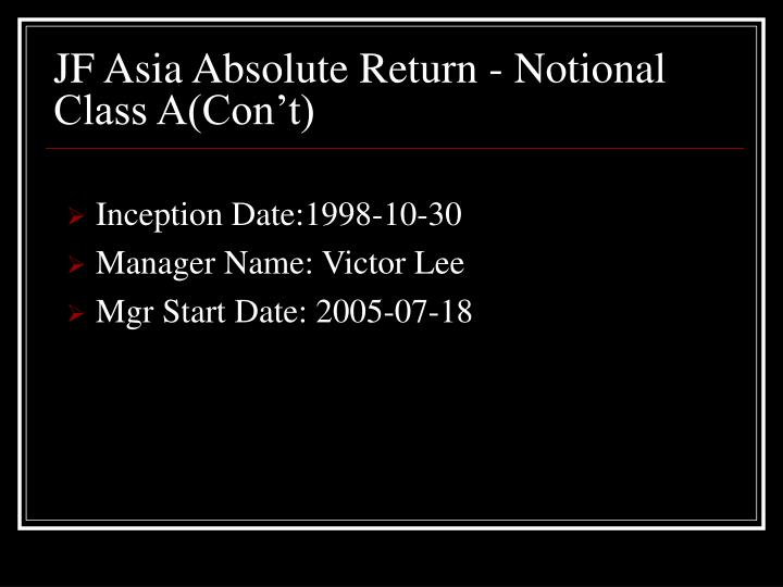 JF Asia Absolute Return - Notional Class A(Con't)
