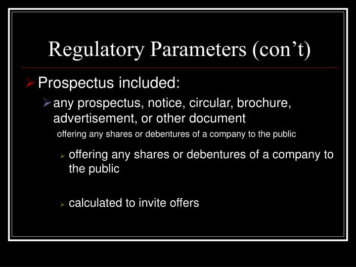 Regulatory Parameters (con't)