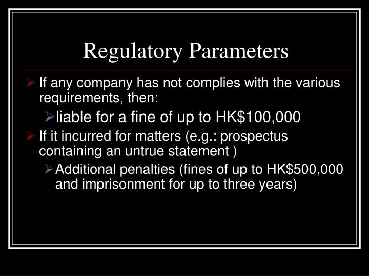Regulatory Parameters