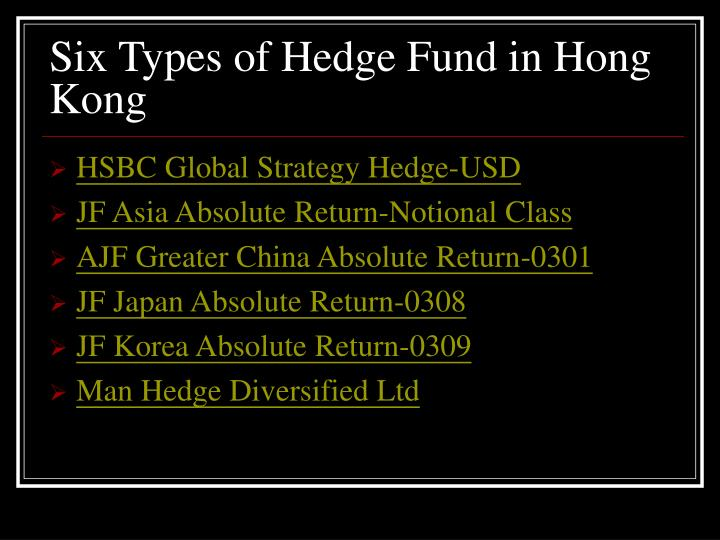 Six Types of Hedge Fund in Hong Kong