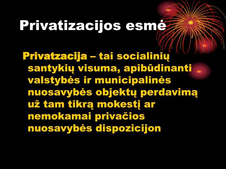 Privatizacijos esmė