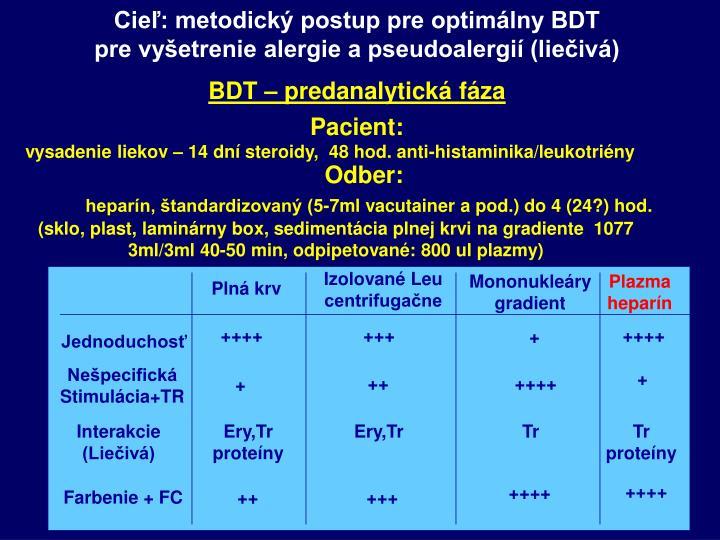 Cieľ: metodický postup pre optimálny BDT