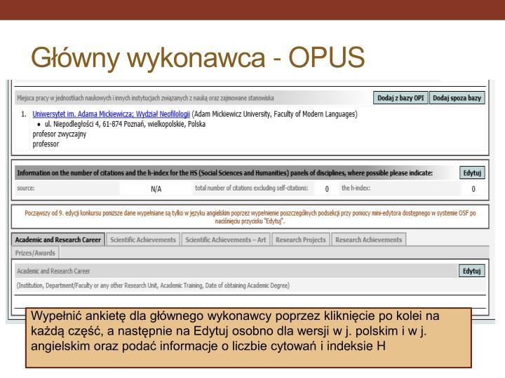 Główny wykonawca - OPUS